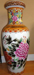 Collectible tall large Chinese porcelain pottery pot