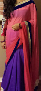 Designer Pink & Violet Georgette Saree. Price = $65. Used once!