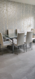 BEAUTIFUL GLASS DINING TABLE AND SIX CHAIRS