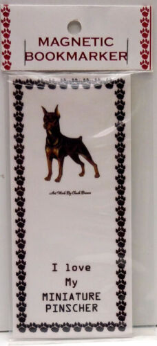 """MINIATURE PINSCHER,STANDING DOG MAGNETIC BOOKMARK,""""I LOVE MY MINIATURE PINSCHER"""""""