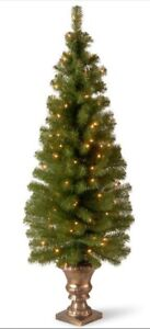 4 foot pre lit clear christmas tree - potted - brand new in box