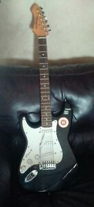 left hand renegade electric guitar and case
