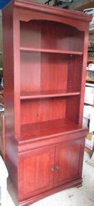 Moving- Wood Shelving, entertainment unit w 2 shelves/2 doors.