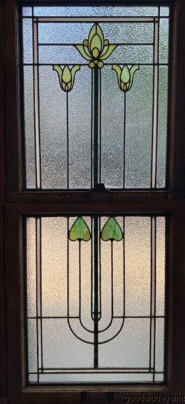 Antique Double Hung Chicago Stained Leaded Glass Window Circa 1910 Arts & Crafts