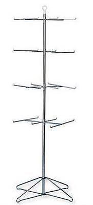 Floor Peg Hook Spinner Display Rack - 4 Tier 24 Peg (Chrome Finish)