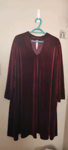 Burgundy long sleeve dress size 3X