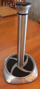 Brushed Nickel Paper Towel Tower, Heavy, Like New!