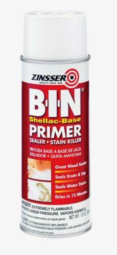 Zinsser B-I-N 13 oz. Primer & Sealer Shellac-Based Spray White Glossy 1008 NEW!!