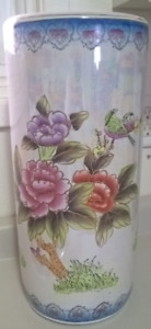 Chinese Porcelain Umbrella Stand With Hand Painted  Flowers
