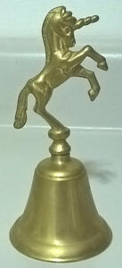 Vintage  Brass Unicorn Bell, Mythical Beast Gold Tone Bell