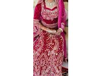 Stunning jaw dropping Fusia Velvet Pink wedding dress