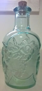 Vintage Heavy Green Glass Bottle Embossed Fruit Medley