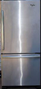 Whirlpool fridge with bottom mount freezer, one year old