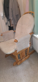 Cot bed with mattress and nursing chair with stool