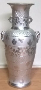 Ceramic Silver Large Vase with Handles