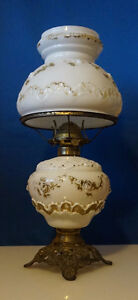 4u2c ANTIQUE PARLOR OIL LAMP WHITE WITH GOLD ACCENTS