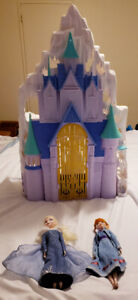 Elsa & Anna 2 in 1 Castle with dolls - $40