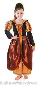 Girls-Medieval-Tudor-Gothic-Queen-Anne-Boleyn-Historical-Costume-Fancy-Dress