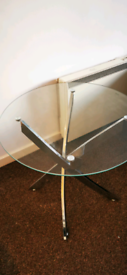 Glass dining table with chair