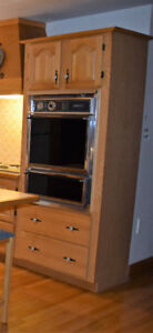 Kitchen Oven Cabinet, oven and decorative plate rail included