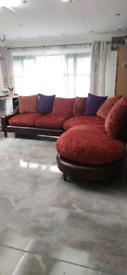 Vintage Retro Antique Tetrad Hayden Strauss Red Corner Sofa/ Delivery