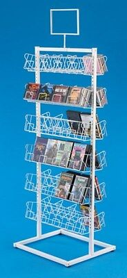Floor Cddvd Display Rack - Double-sided 6 Tiers Per Side White