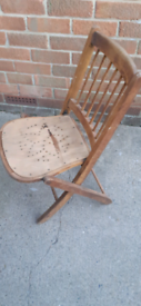 Vintage Folding Wooden Deck Chair Garden Seat