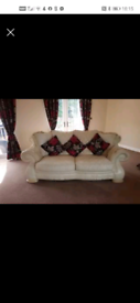 2 x Italian soft leather cream sofas