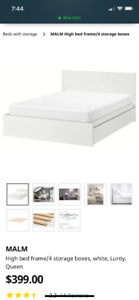 IKEA MALMHigh bed frame/4 storage boxes, white, Queen