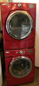 Red whirlpool duet stackable washer and dryer