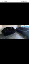 Crushed black velvet sofa's