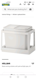 IKEA HÅLLBAR Waste sorting solution, with pull-out/light grey 22 l.