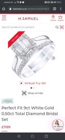 0.50 carat diamond cluster engagement and wedding ring set