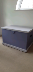 Vintage Pine Blanket Box Tool Chest Toy Storage Ottoman Furniture