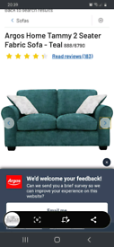 2 x 2 Seater Teal Sofas. Purchased from Argos 2016.