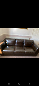 Large Chocolate BROWN 3 seater Leather Sofa