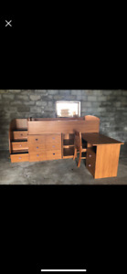 Single loft bed with built in dresser, desk and chair