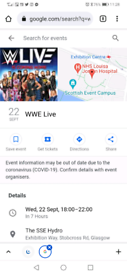 Wwe tickets at hydro Wednesday 22nd September