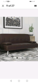 Faux Leather Brown Sofa Bed recliner 3 Seater Modern Luxury Design