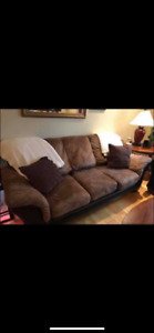 Couch and love seat (leather & microfibre)