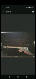 KISS Paul Stanley Silvertone apocalypse pro guitar.
