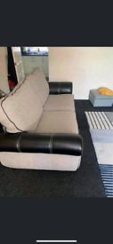3 seater part leather part fabric sofa