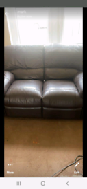 Brown recliner leather couch