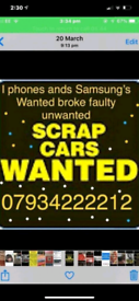 A scrap cars and vans bought for cash