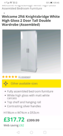 Brand new in packaging white high gloss Archers wardrobe