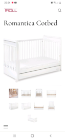 Cotbed / toddler bed with storage drawer and extras
