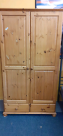Pine double wardrobe with drawers