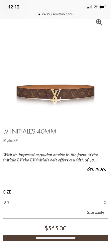 41d20d4f02f4 Description. Brand new Louis Vuitton Monogram belt 40mm