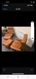 Ekornes chair and foot stool