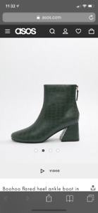 BN Boohoo flared heel ankle boot in size 8